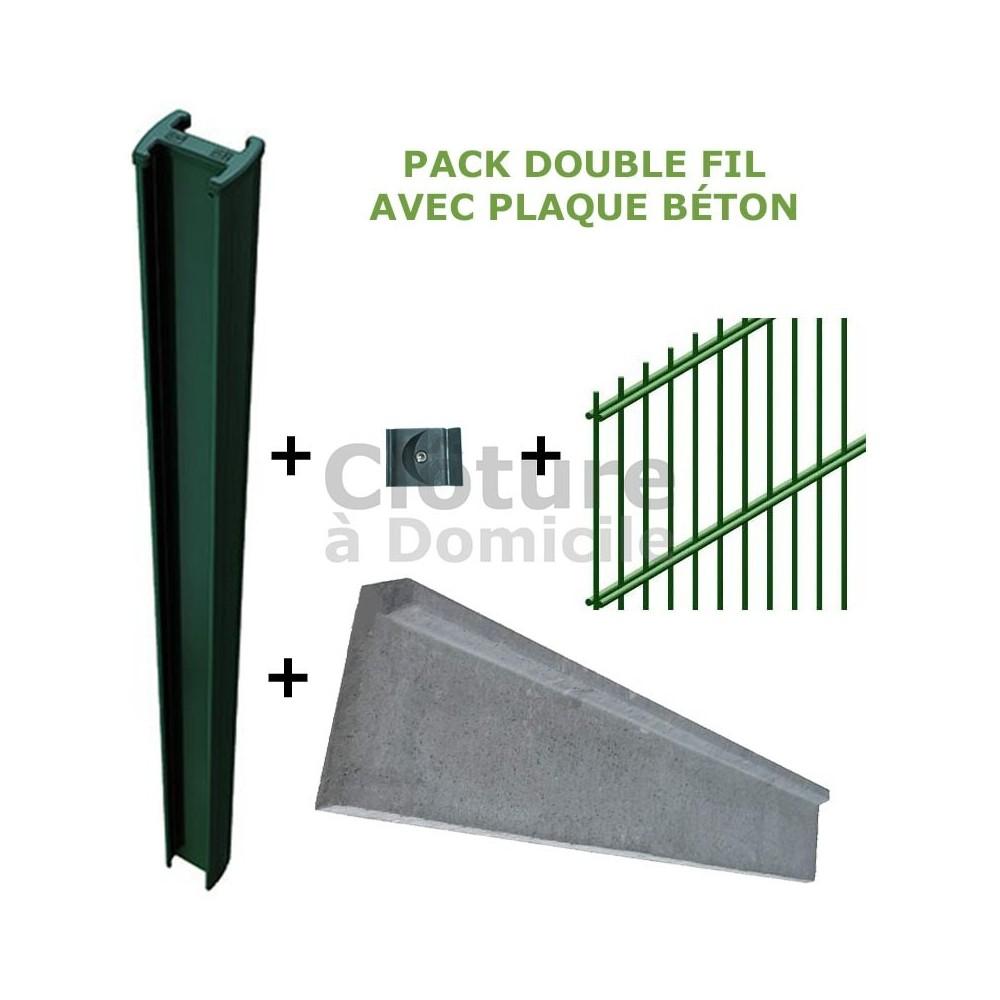 Pack Clôture rigide double fil + Plaque de soubassement
