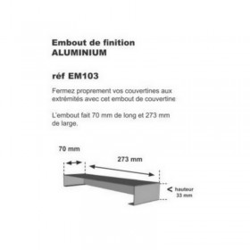 Embout de couvertine alu 70 x 273 x 1mm